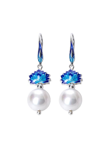 Ethnic style Shell Pearl Blue Lotus Flower 925 Silver Earrings