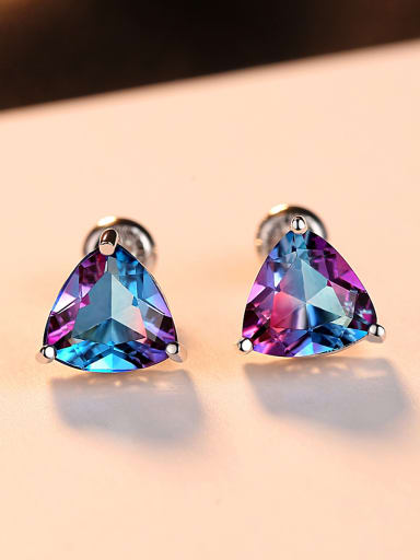 Sterling silver Rainbow semi-precious stones Triangle earring