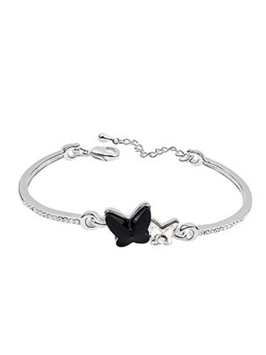 Simple Double Butterfly Swarovski Crystals Alloy Bracelet
