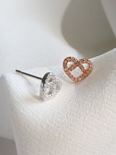 Fashion Hollow Heart Cubic Zirconias Silver Stud Earrings