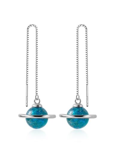 925 Sterling Silver With Opal Fashion Round Threader Earrings