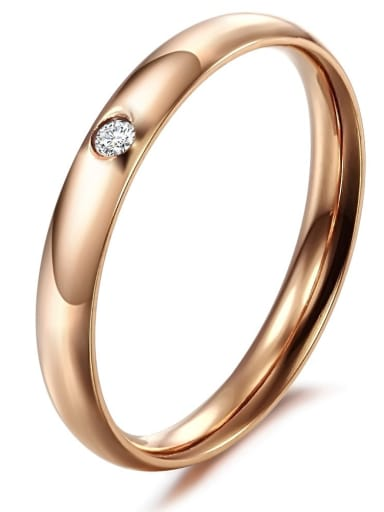 Stainless Steel With Rose Gold Plated Simplistic Round Rings