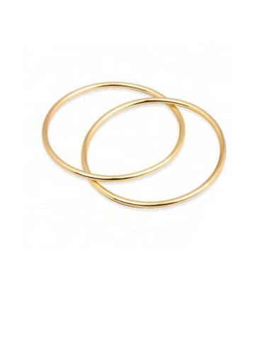Titanium With Gold Plated Simplistic Hollow Smooth Round Band Rings