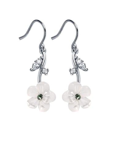 925 Sterling Silver With Resin Cute Flower Drop Earrings