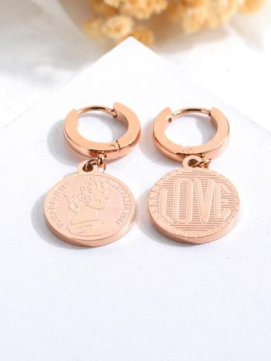 Stainless Steel With Rose Gold Plated Lady Round Elizabeth S 1981 Stud Earrings