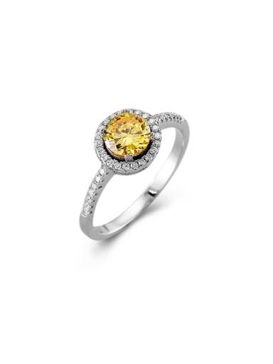 925 Silver Round Shaped Zircon Stud Ring
