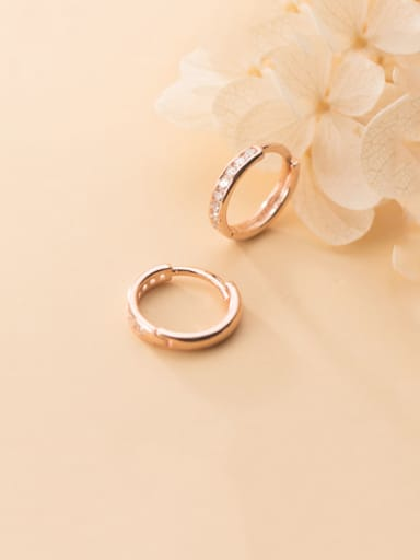 925 Sterling Silver With Platinum Plated Simplistic Round Clip On Earrings
