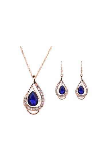 Alloy Imitation-gold Plated Fashion Stones Water Drop shaped Two Pieces Jewelry Set