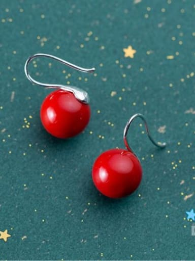 925 Sterling Silver With Platinum Plated Cute  Apple Hook Earrings