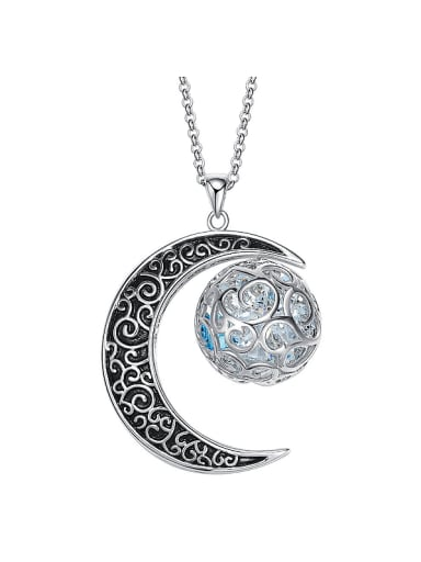 Moon Shaped Swarovski Crystal Necklace