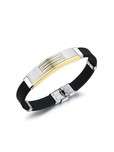 Fashion Titanium Black Silicon Men Bracelet