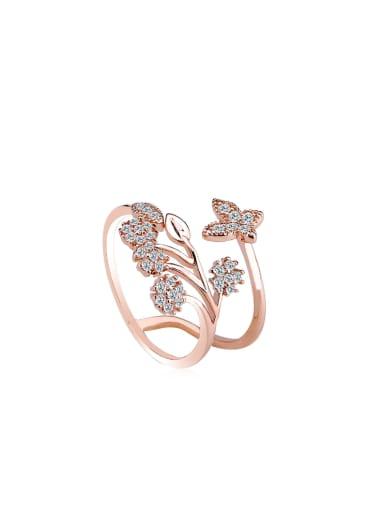 Women 18K Rose Gold Flower-shaped Zircon rings