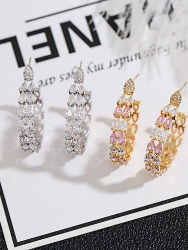 Copper inlaid AAA zircon circle luxury ear studs