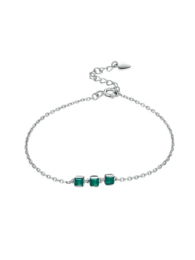 Simple Natural Green Agate White Gold Plated Bracelet