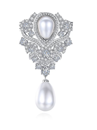 Popular AAA zircon pearl flower breastplate gift