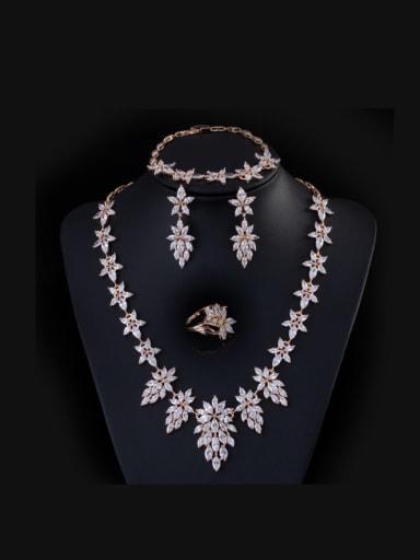Elegant  Leaf-shape Four Pieces Jewelry Set