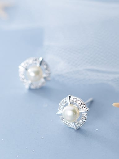 925 Sterling Silver With Silver Plated Cute Bee-joo Round Stud Earrings