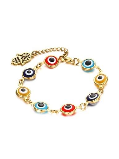 Personality Colorful Stone Gold Plated Eye Shaped Titanium Bracelet