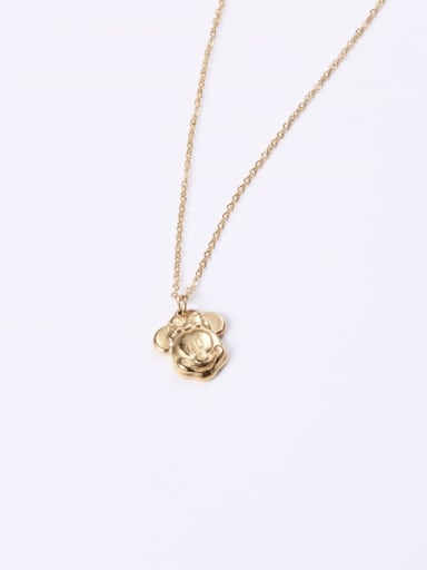 Titanium With Gold Plated Cute Mickey Mouse Necklaces