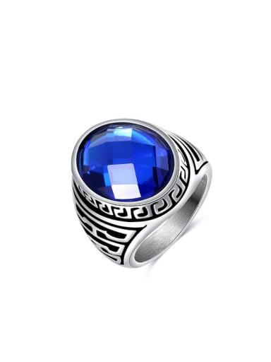 Blue Oval Shaped Acrylic Titanium Ring