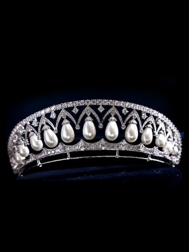 Noble Micro Pave Zircons Artificial Pearls Wedding Hair Accessories