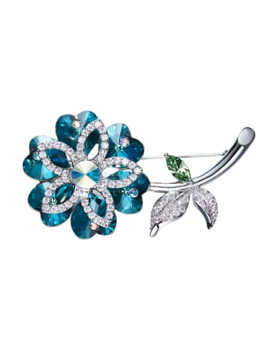 Flower-shaped Swarovski Crystal Brooch