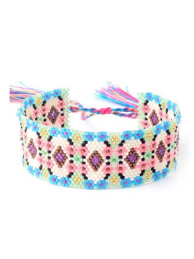 Color Glass Beads Woven Bohemia Style Bracelet