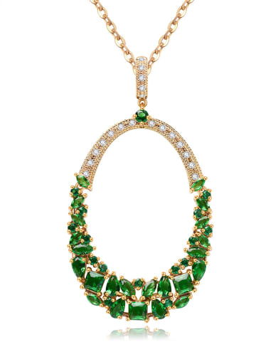 Copper Pendant Zircon Bling bling Necklace