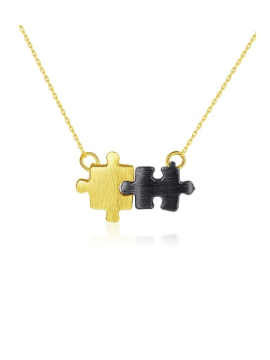 925 Sterling Silver With smooth Personality Two-color Plated Geometric Necklaces