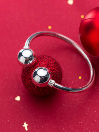 925 Sterling Silver With Silver Plated Simplistic Round Ball Bell Bracelets