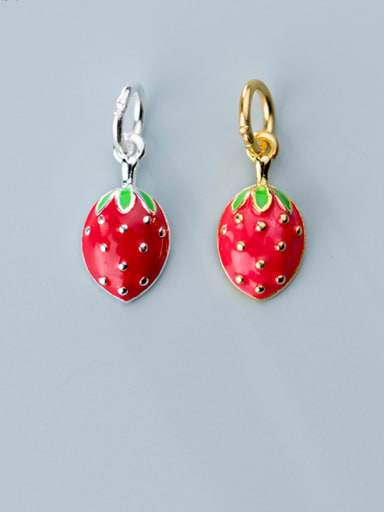 925 Sterling Silver With Platinum Plated Personality Friut Strawberry  Charms