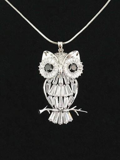 Personalized White Zirconias Owl Copper Sweater Chain