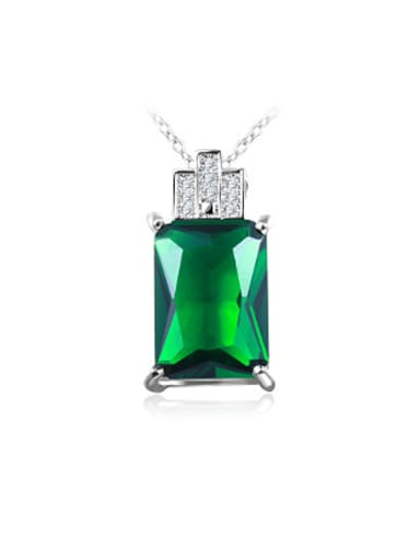 Creative Green Square Shaped Glass Stone Necklace