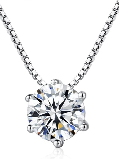 Sterling Silver six-claws Zircon Necklace