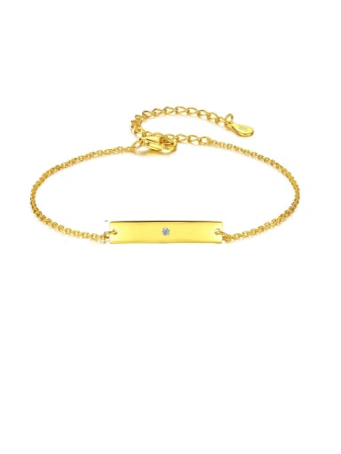 925 Sterling Silver With Gold Plated Simplistic Square Bracelets