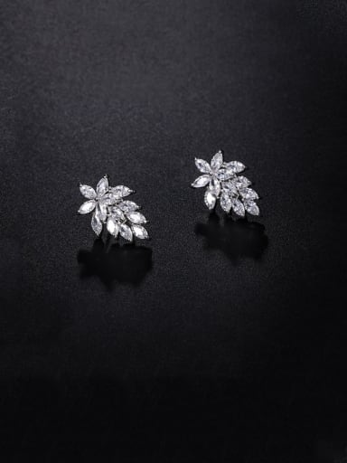 Copper With Platinum Plated Cute Leaf Stud Earrings
