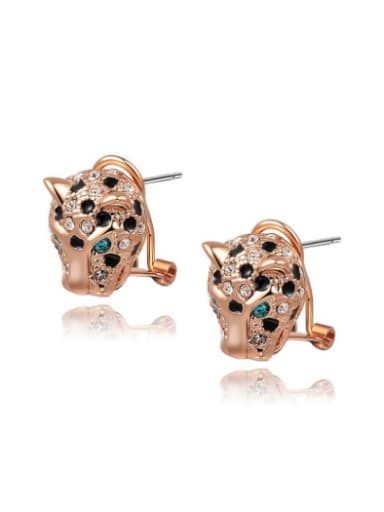 Rose Gold Plated Leopard Shaped Stud Earrings