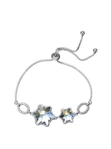 Simple Star-shaped Swarovski Crystals Silver Bracelet