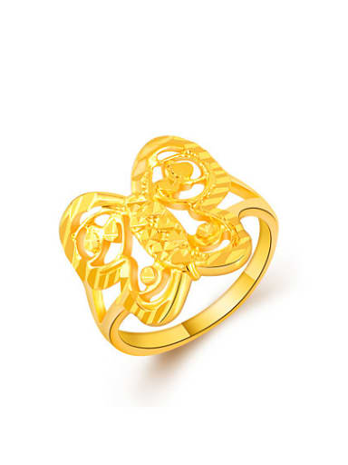Exquisite 24K Gold Plated Butterfly Shaped Copper Ring