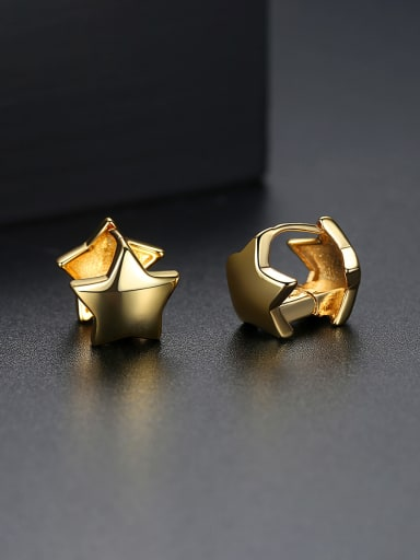 Copper With 18k Gold Plated Casual Star Stud Earrings