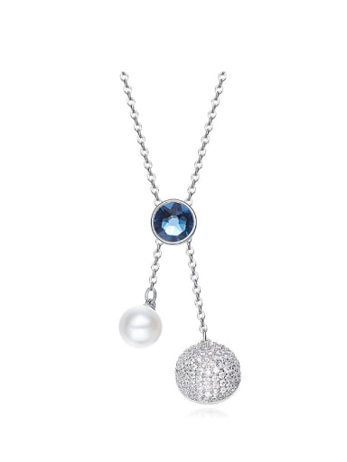 Simple Swarovski Crystals Artificial Pearl Sweater Chain