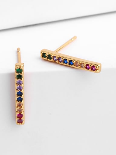 Copper With Cubic Zirconia Fashion lightning Stud Earrings