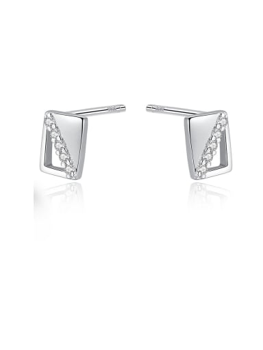 925 Sterling Silver With Rhinestone  Simplistic Square Stud Earrings