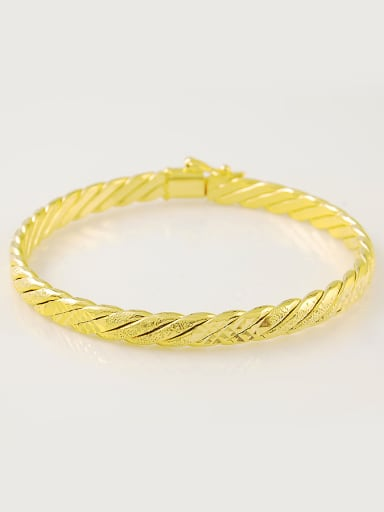 Fashion 24K Gold Plated Geometric Copper Bangle