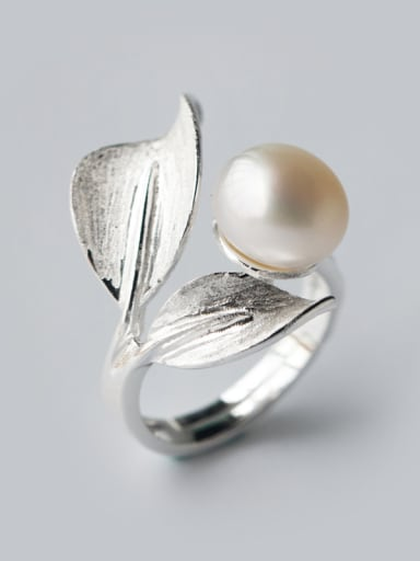 S925 silver leaves freshwater pearls exaggerate opening ring