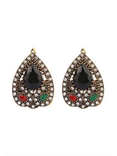 Ethnic style Water Drop shaped Resin stones Alloy Earrings