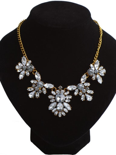 Retro style White Stones Flowery Gold Plated Alloy Necklace