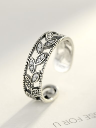 Sterling silver retro thai silver inlaid zircon leaves ring