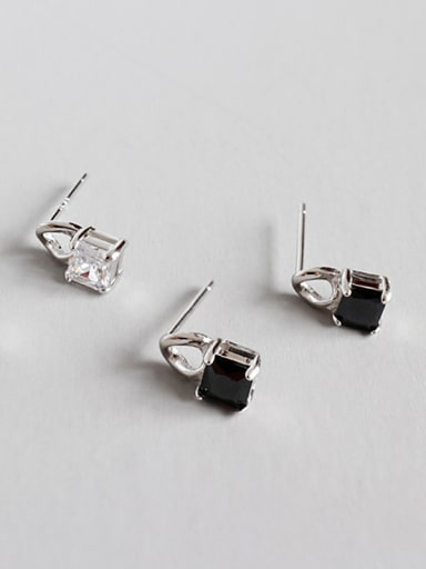 Sterling Silver  Square Zirconia Stud earring
