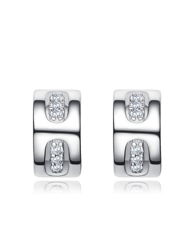 Tiny Cubic ZIrconias 925 Silver Stud Earrings